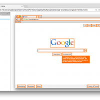 Screenshot of a browser window, showing a Google page with orange outlines over many elements