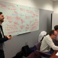 George and participants smiling as he writes on a whiteboard filled with notes