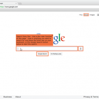 Screenshot of the Google home page with a mouse cursor hovering over the search box, revealing a description of that element