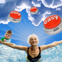 Collage of a smiling elderly woman with outstretched arms, a bright sky, Success Kid, and Easy Buttons