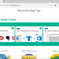 Screenshot of Microsoft Edge Tips with cards showing new features